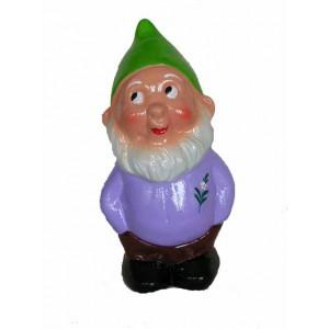 Nain de jardin Martin le coquin, tout vêtu de violet